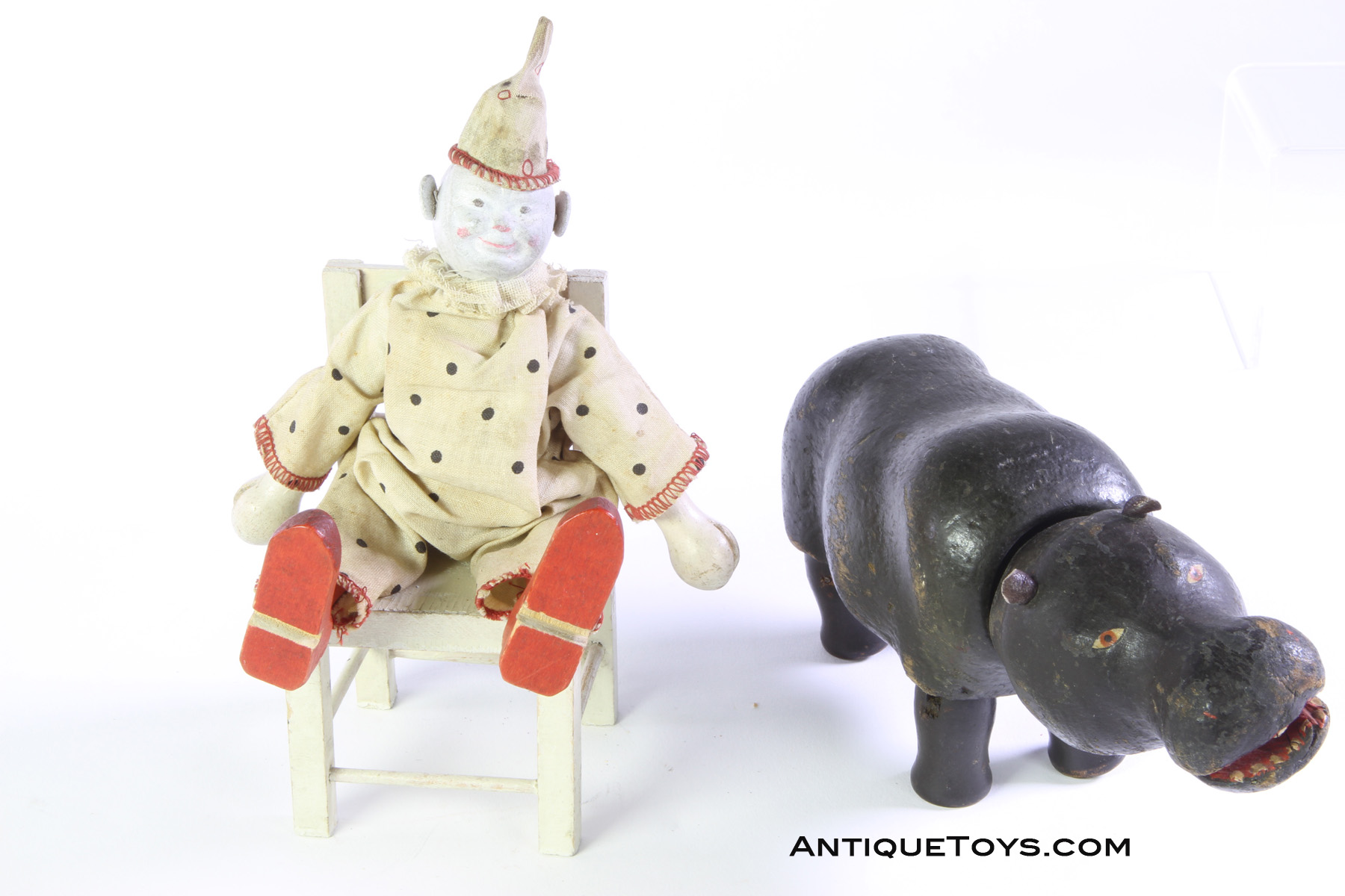 schoenhut clown and hippo wooden toys antique toys for sale. Black Bedroom Furniture Sets. Home Design Ideas