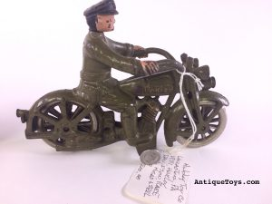 Cast Iron Toy Harley Davidson with swivel head motorcycle driver