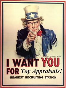 We want your toy appraisals! Email us for toy appraisals and collection appraisals.