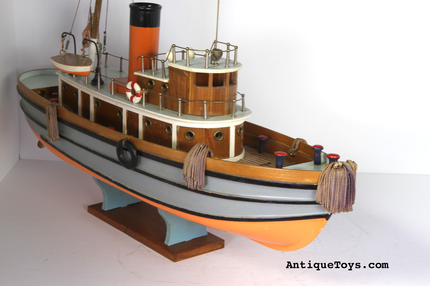 Japanese Wooden Tug Boat Toy - Antique Toys for Sale