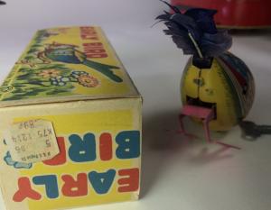 toy bird. Old windup tin toys.