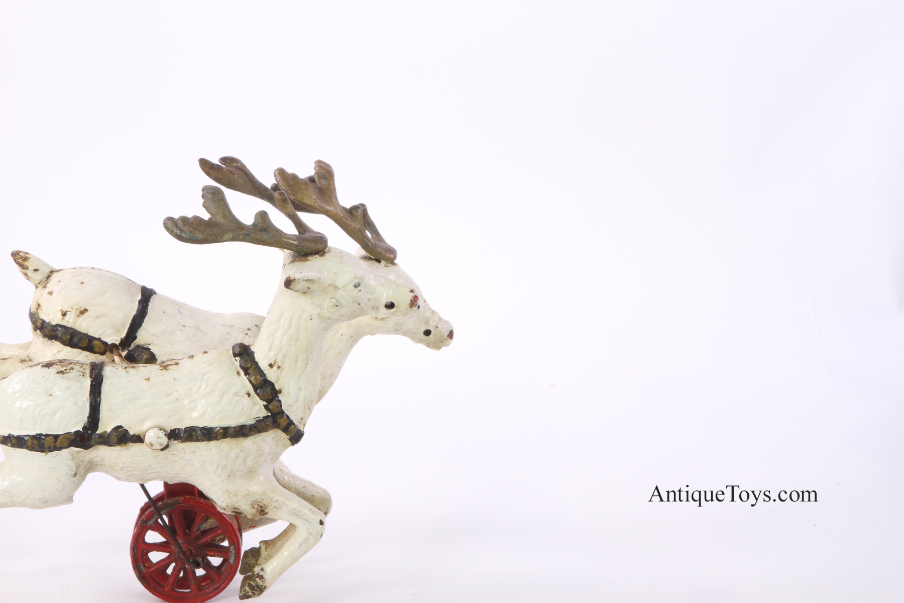 Iron Horse Motorcycles >> Hubley Toys Santa in Sleigh with Two Reindeer cast iron ...