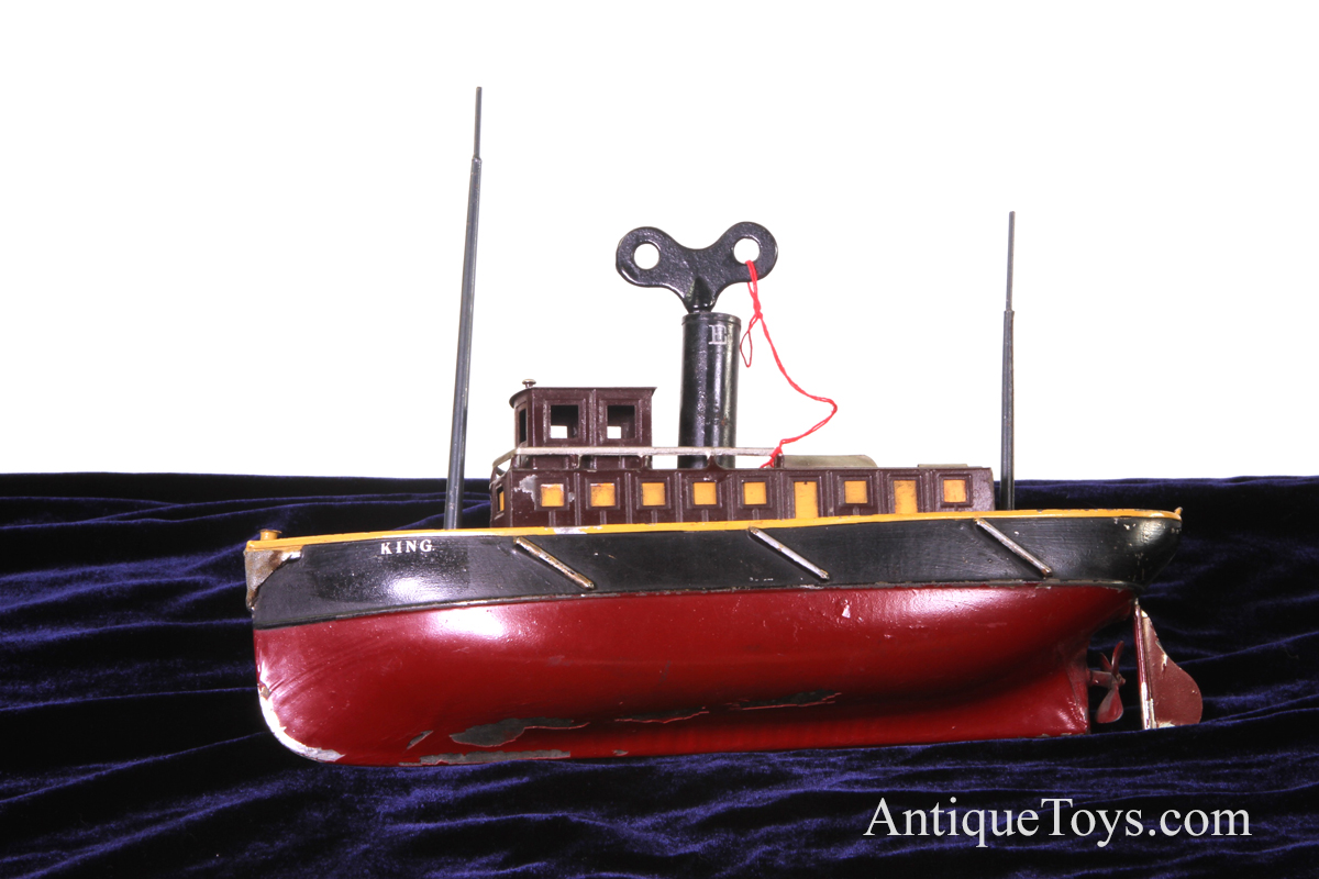 Iron Horse Motorcycles >> Ives Tugboat King tin windup for sale- Antique toy boat ...