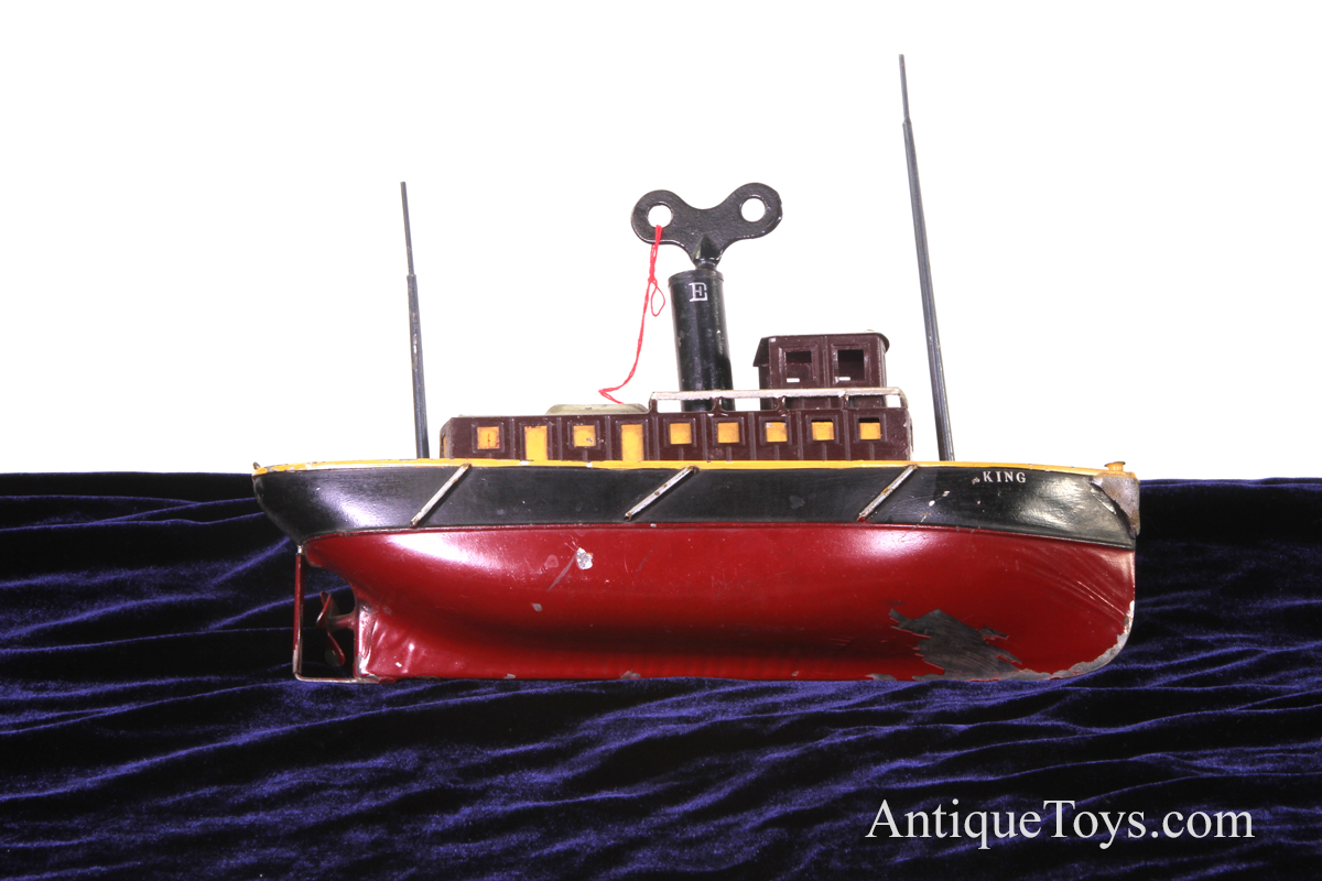 Iron Horse Motorcycles >> Ives Tugboat King tin windup for sale- Antique toy boat - Antique Toys for Sale