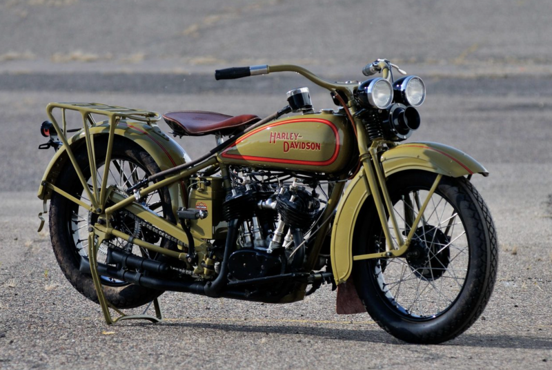 1929 Harley D-twin motorcycle with siren