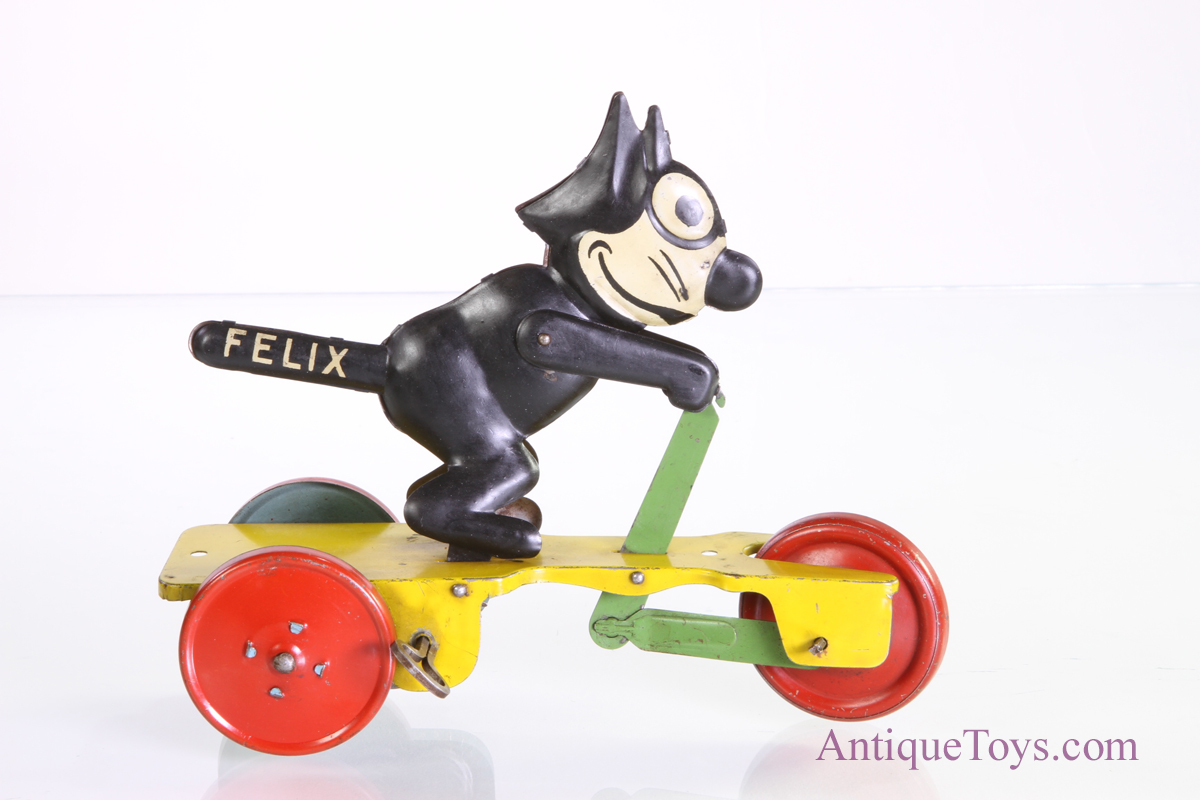 Felix The Cat Scooter Toy By Nifty Tin Litho Wind Up