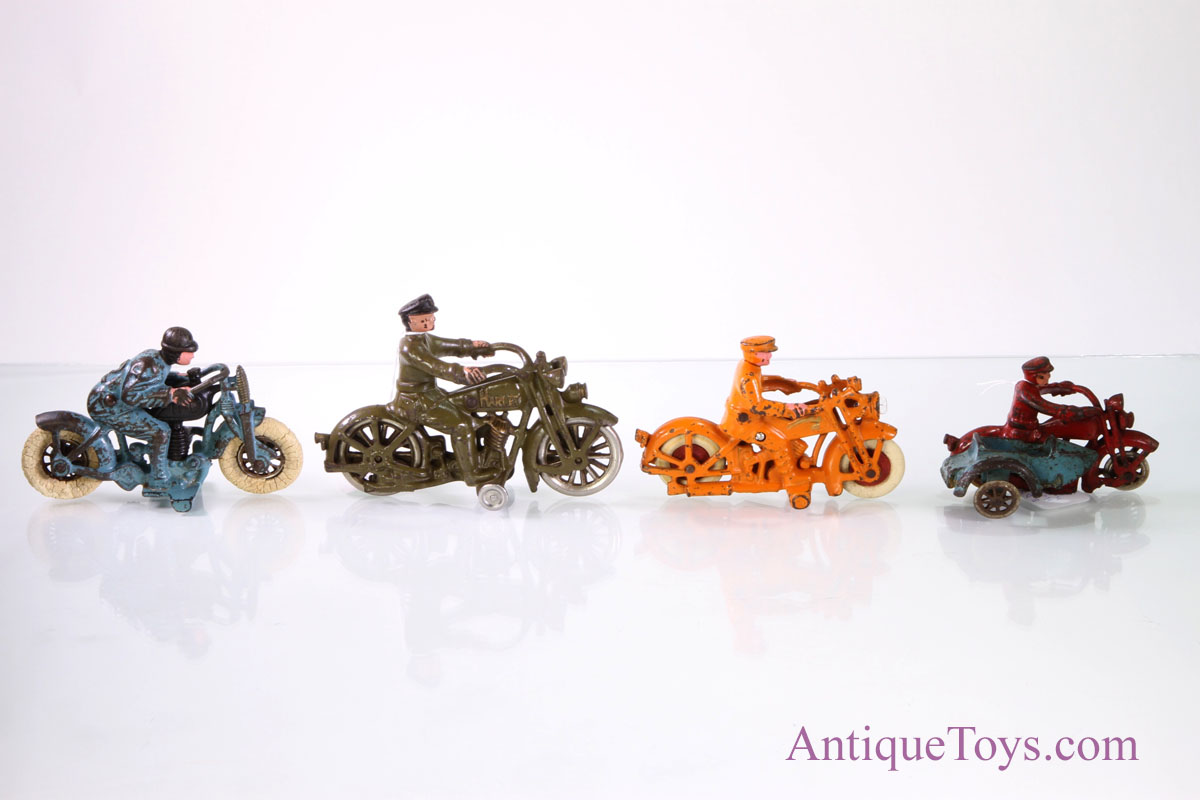 Hubley Cast Iron Motorcycles Antique Toys For