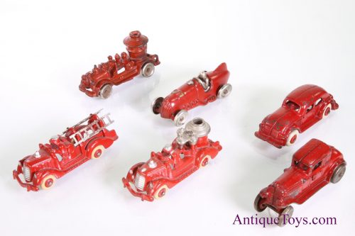 Race cars and cast iron fire trucks