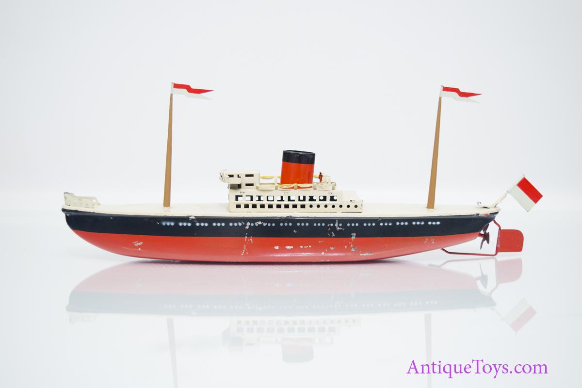 Post War Tin Ocean Liner Wind Up Boat By Arnold Pending