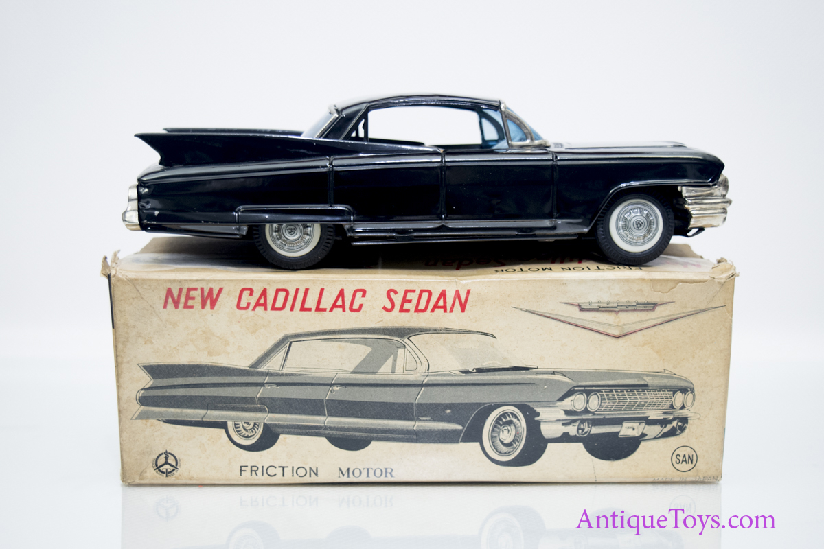 1961 Cadillac Sedan Tin Car Marusan Japan 3828 Antique Toys For Sale