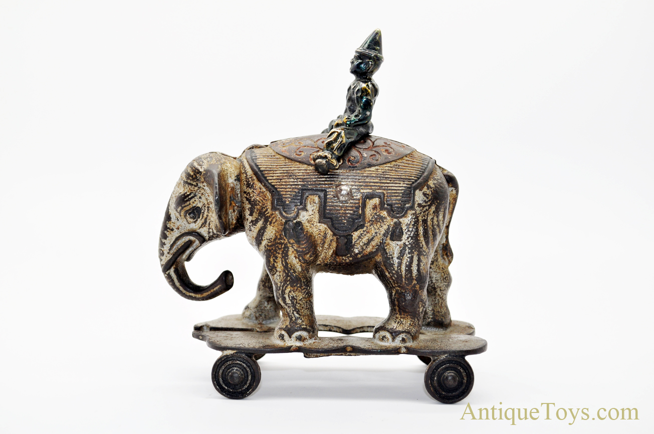 2477ece9a861 Shimer Cast Iron Elephant Head Nodder with Clown - Unusual ...