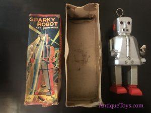 Japanese tin toy robot, sparky robot