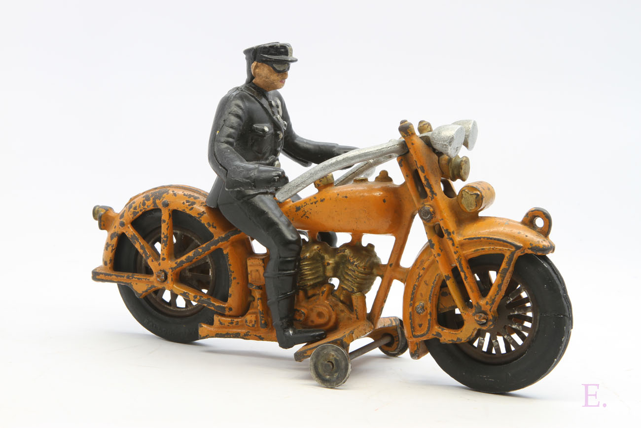 Hubley Harley Davidson Cast Iron in Orange with Policeman For Sale