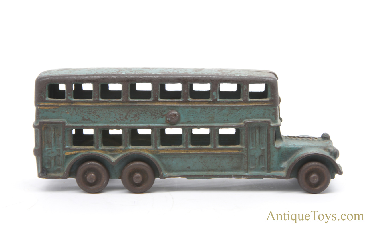 A C  Williams Turquoise Cast Iron Double-Decker Bus with Gold Accents for  Sale
