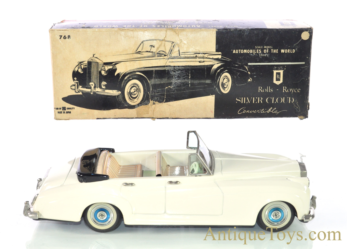 Vintage Ca 1960 S Bandai Silver Cloud Rolls Royce Convertible Automobiles Of The World Series 768 Tin Lithographed Friction Japan Scale Model With Box Sold Antique Toys For Sale