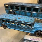 Real Blue Original Cast Iron buses by Arcade Toys